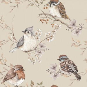 Tapeta Birds Beige