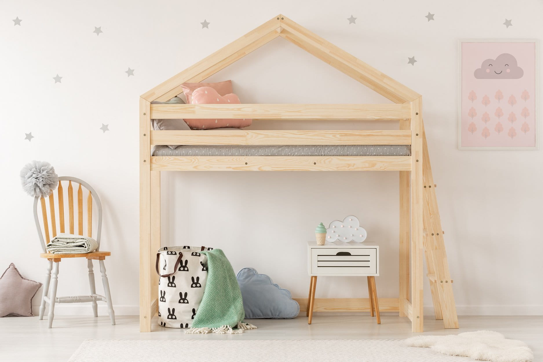 Drewniane łóżko Piętrowe Domek Dla Dzieci Lila Różne Wymiary